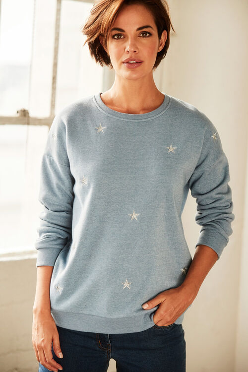 Star Embroidered Sweatshirt