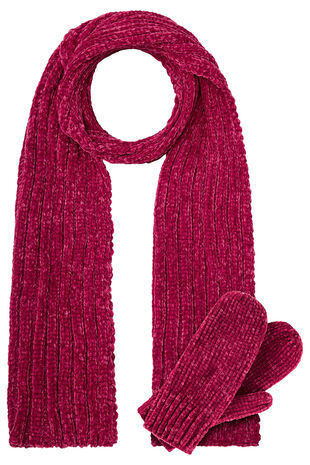 Chenille Scarf and Mitten Set