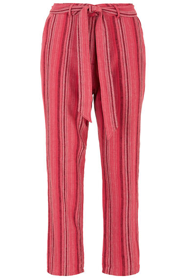 Red Stripe Linen Blend Crop Trouser