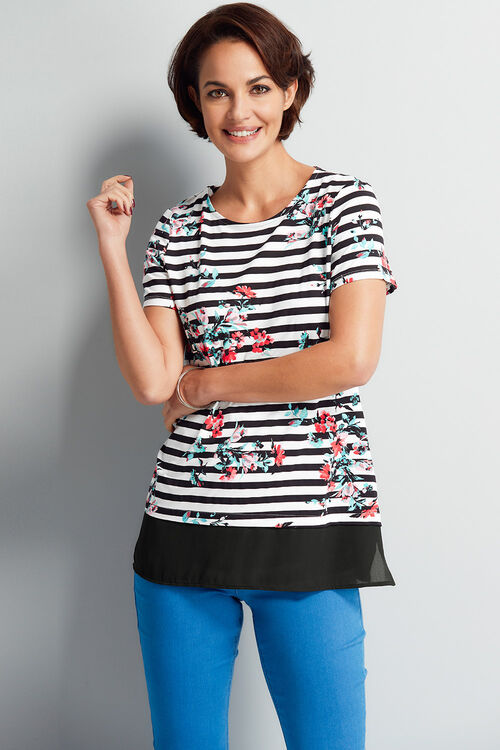 Stripe And Floral Tunic With Chiffon Hem