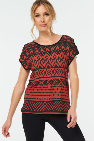 Tribal Print Woven Front Top