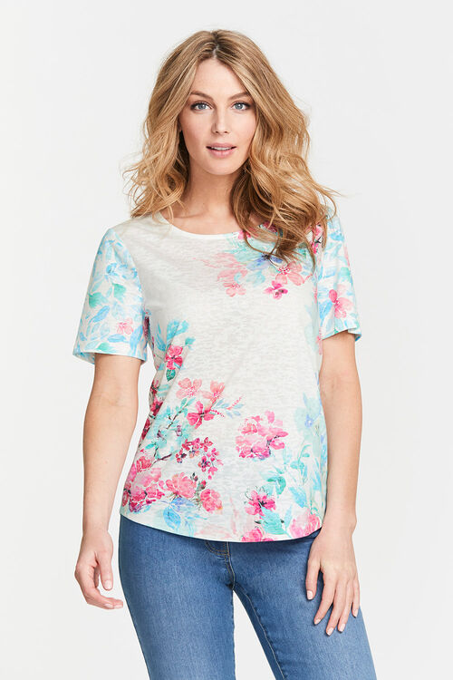 Placement Floral Burnout T-Shirt