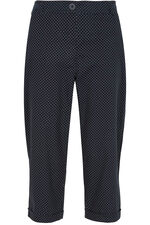Spot Print Cotton Cropped Trousers