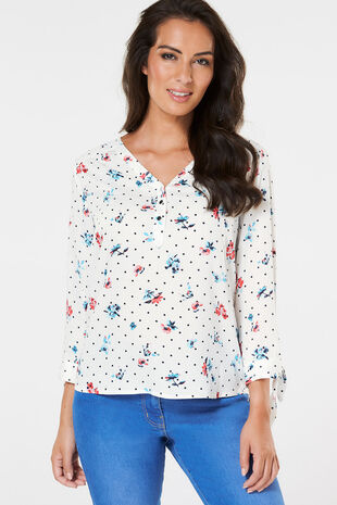 Floral And Spot Overhead Shirt