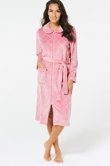 Pink Fleece Zip Through Gown