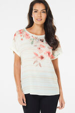 Printed Woven Front Jersey Back Top