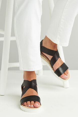 Krush Snake Effect Wide Strap Sandal
