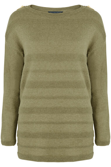 Ripple Jumper With Zip Shoulder Detail