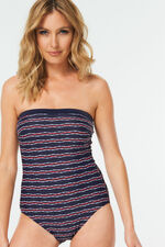 Jacquard Stripe Bandeau Swimsuit With Detachable Straps
