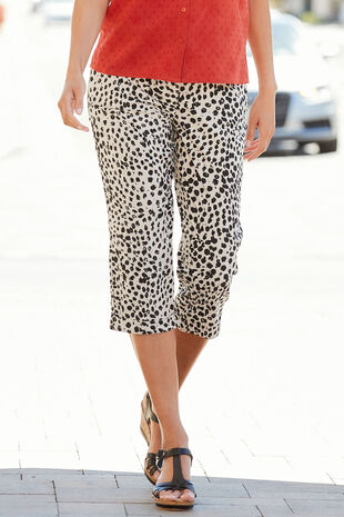 Cheetah Print Brushed Cotton Crop Trouser