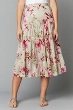 Printed Crinkle Maxi Skirt