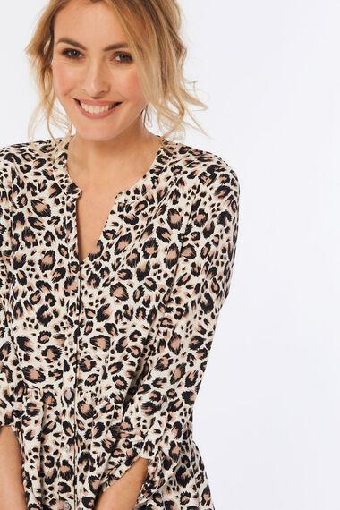 Animal Print Tunic with Peplum