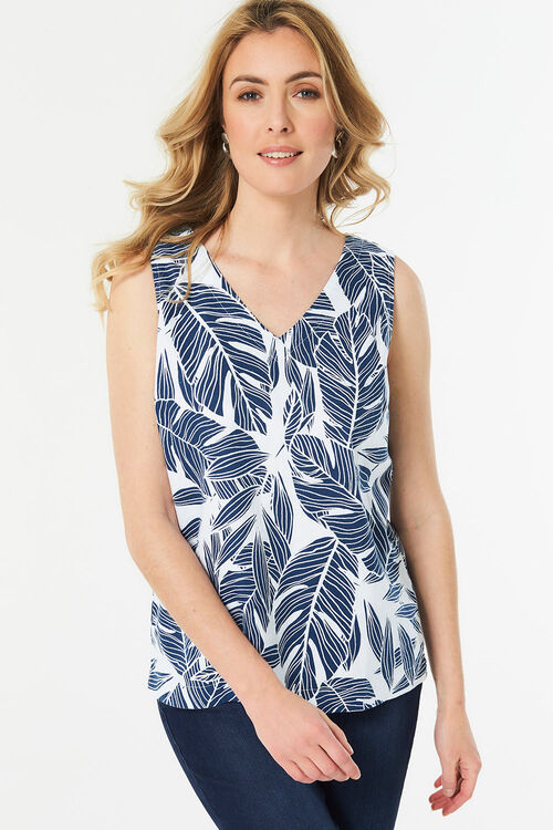 Leaf Print Linen Blend Vest with Bar Back