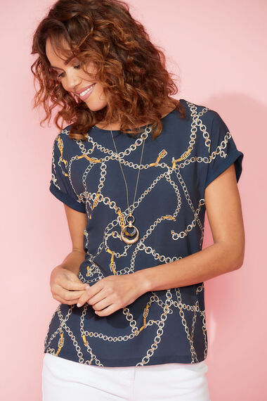 Chain Print Woven Front Top
