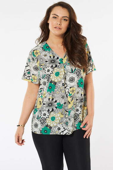 Retro Floral Print Inverted Pleat Detail Blouse