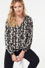 Ditsy Print Cross Front Blouse