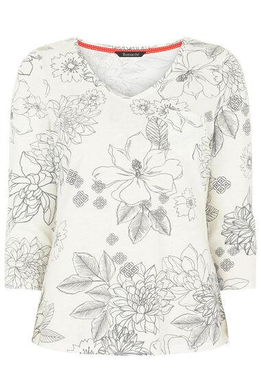Floral Print V Neckline T-Shirt