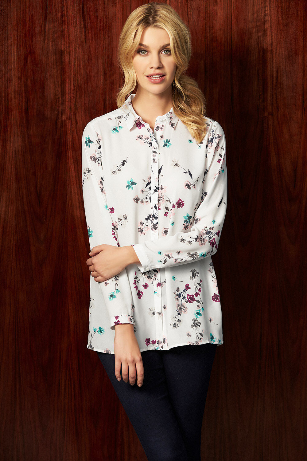 279e805d8b5 Floral Bouquet Printed Long Sleeve Shirt. Hover to zoom