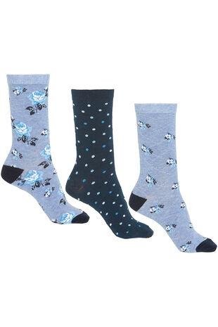 3 Pack Floral Printed Sock