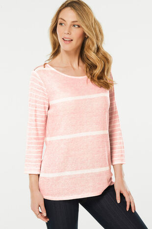 Stripe with Contrast Sleeve Sweat