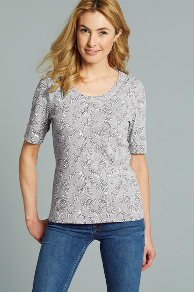 Scoop Half Sleeve Printed T-Shirt