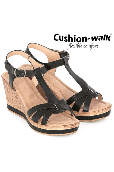 Cushion Walk Portofino Buckle Wedge Sandal