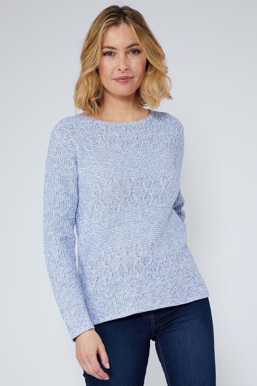 New BHS Love Knitwear Beige Marl Cable Jumper Sweater Slim Fit RRP £22
