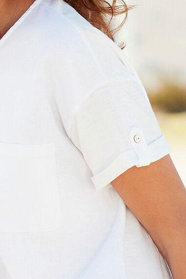 Linen Blend Woven Front Top