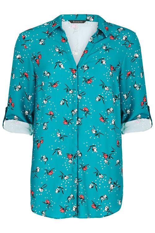 Floral Print Textured Longline Shirt