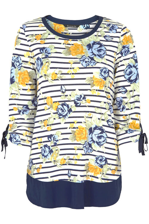 Floral Print Top With Eyelet And Tie Detail