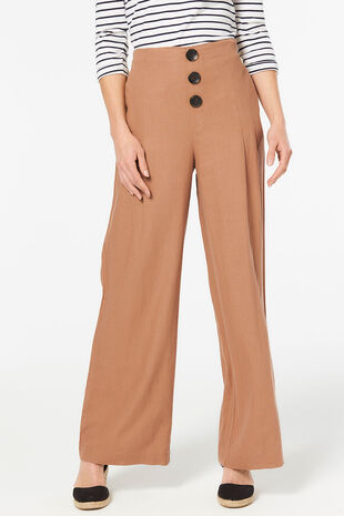 3 Button Wide Leg Trouser