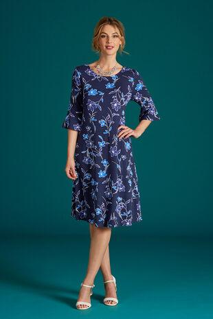 Flute Sleeve Printed Swing Dress