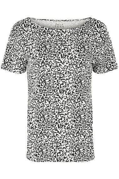 Boat Neck Animal Print T-Shirt