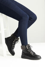 Dr. Keller Faux Fur Trim Lace Boot