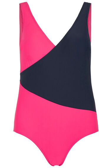 Navy And Pink Wrap Swimsuit
