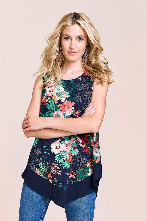 Sleeveless Floral Top With Chiffon Hem