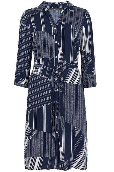 Striped Patchwork Shirt Dress
