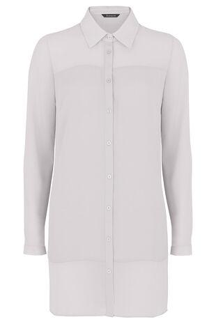 Long Sleeve Panel Insert Longline Shirt