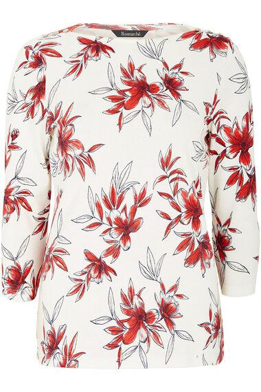 Boat Neck Floral Print T-Shirt