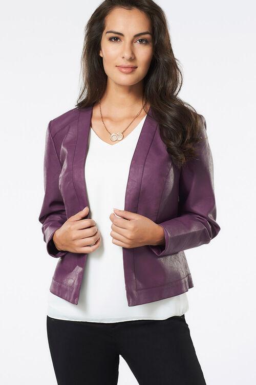 Collarless PU Jacket