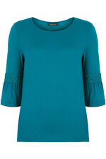 Plain Jersey Top With Fluted Sleeve