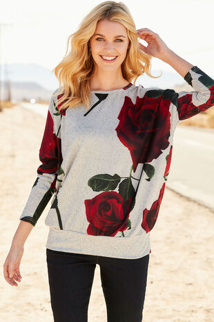 Stella Morgan Rose Print Soft Touch Sweater
