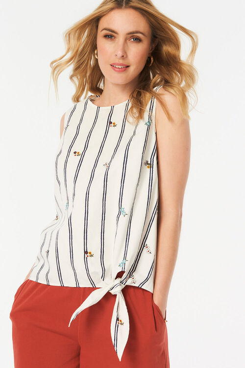Stripe Side Tie Top with Embroidery