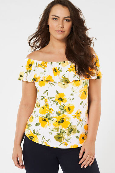 Floral Printed Bardot Top