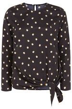 Long Sleeve Spot Print Blouse With Tie Detail
