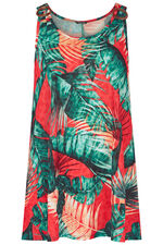 Tropical Print Vest With Ring Detail