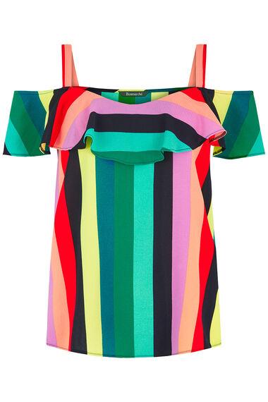 Stripe Print Bardot Top