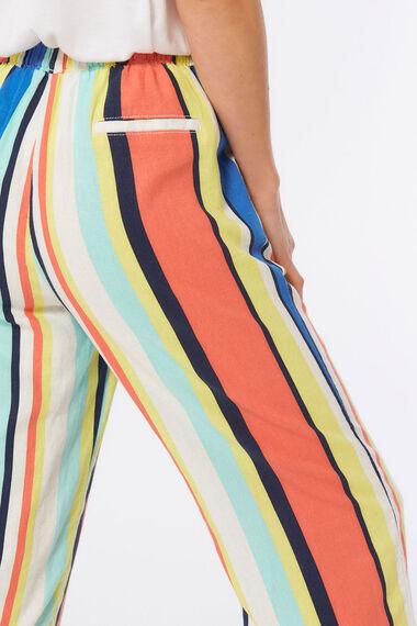 Bold Stripe Linen Blend Crop