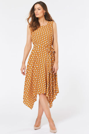 Yellow Tile Print Hanky Hem Dress