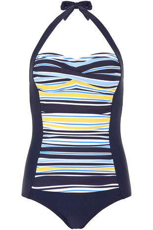 Stripe Ruched Front Halterneck Swimsuit